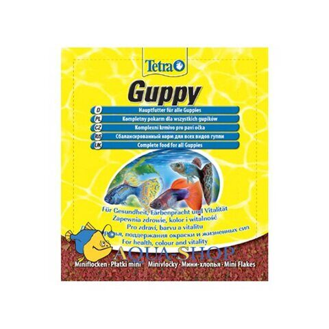 Tetra Guppy Mini Flakes корм для рыб, пакет мини-хлопья основной для всех видов гуппи, 12 г
